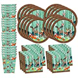woodland animals party supplies - Woodland Animals Birthday Party Supplies Set Plates Napkins Cups Tableware Kit for 16