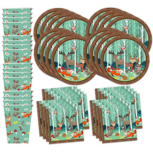 Woodland Animals Birthday Party Supplies Set Plates Napkins Cups Tableware Kit for 16