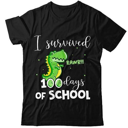 f421f9cd437 Amazon.com: I-Survived-100-Days-Of-School Roaring T-Rex-Dinosaur Fa ...