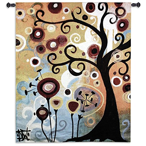June Tree by Natasha Wescoat - Woven Tapestry Wall Art Hanging for Home Living Room & Office Decor - Abstract Floral Flora of June Botanical Pop Art Tree of Life - 100% Cotton - USA