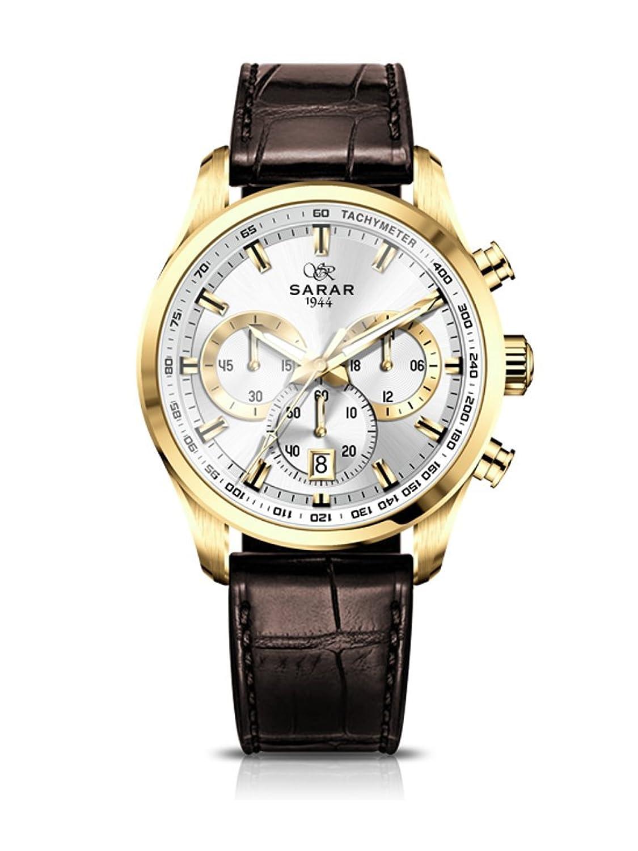 SARAR-TIME Gold-Chronograph SR-1128 Echtleder