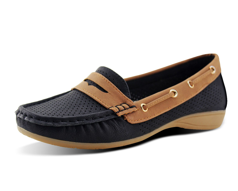 Jabasic Lady Comfort Slip-on Loafers Hollow Driving Flat Shoes(10,Black)