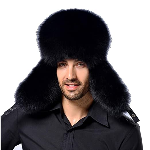 96ce13caeeb Faux Fur Trapper Hat For Men Cotton Warm Ushanka Russian Hunting Hat (Black)