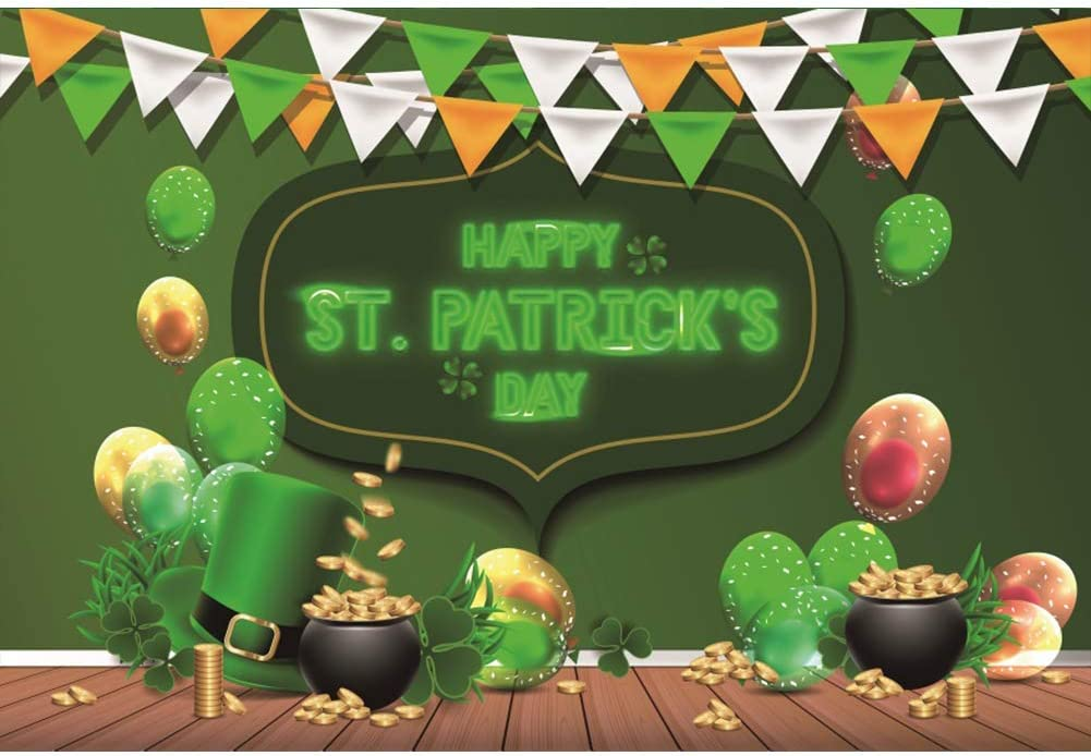 Patricks Day Backdrop for Photography Background Party Irish Flags Backdrop Irish Clover Backdrop Irish Pot of Gold Backdrop Green Hat Backdrop Photo Booth Props 8x6.5ft Cartoon Happy St
