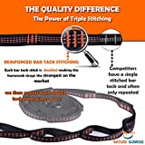NATURE SUNRISE XL Camping Hammock Straps 20FT. No Stretch Polyester 32 Adjustable Loops Heavy Duty Triple Stitched, Lightweight Tree Straps 1500+ Lbs. Bonus 2 Carabiners & Credit Card Survival Tool