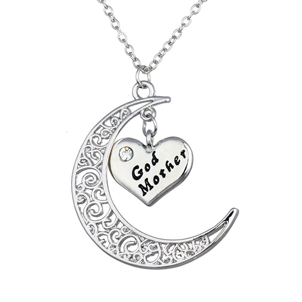 Bling Stars Moon and Heart Two-Piece Pendant Necklace Gift for Mom/Dad/Family Members NK-01-0047-GRM