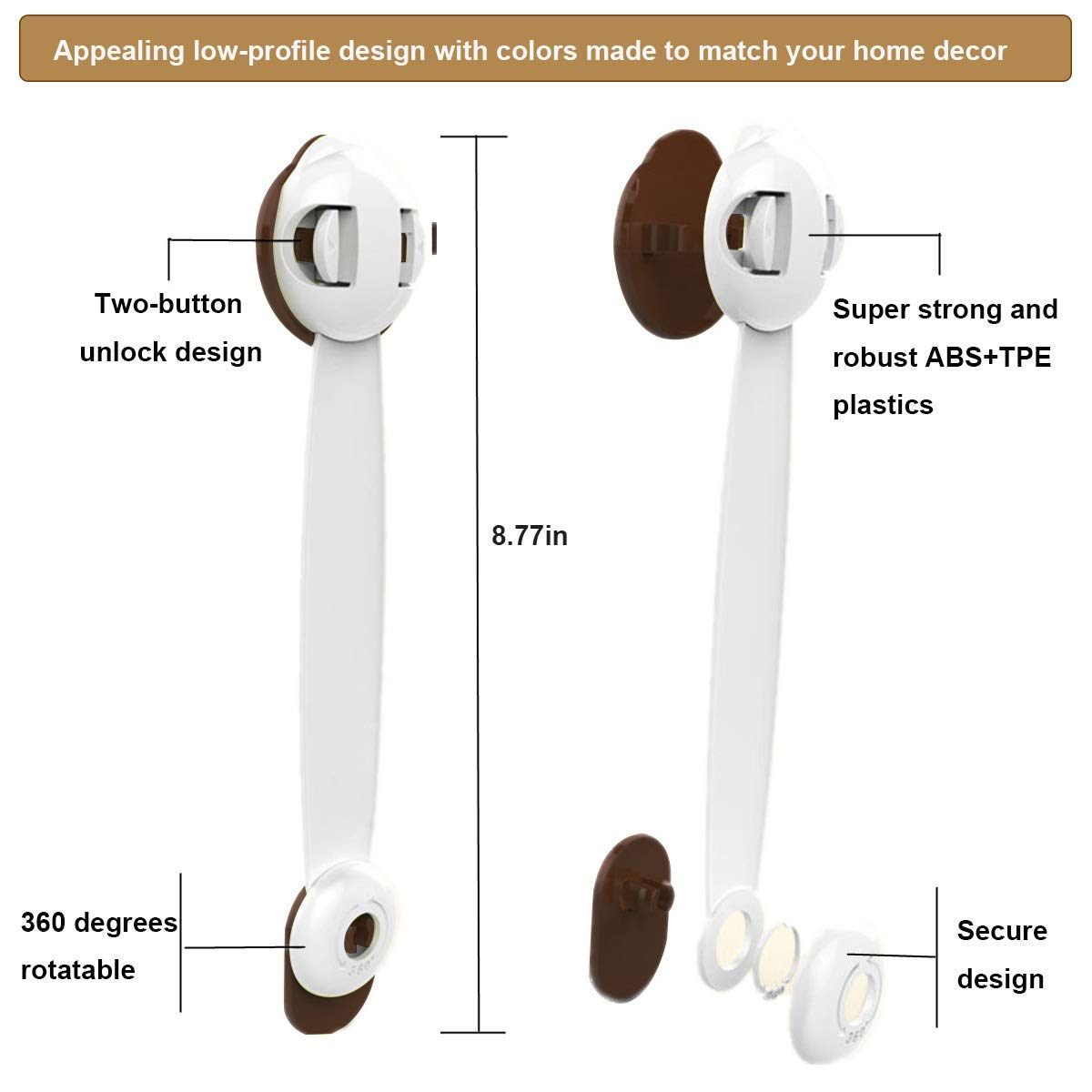 Baby Safety Locks Appliances No Drilling Toilet Seat 3M Adhesive and Latch System Fridge and Oven Drawers Child Proof Cabinets 6-Pack
