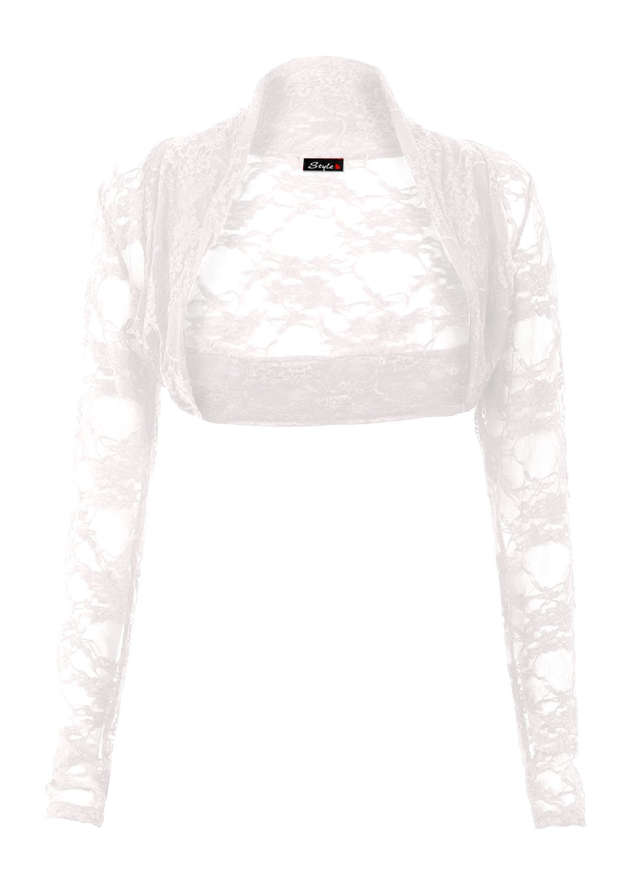 Forever Womens Long Sleeves Floral Lace Front Open Bolero Shrug