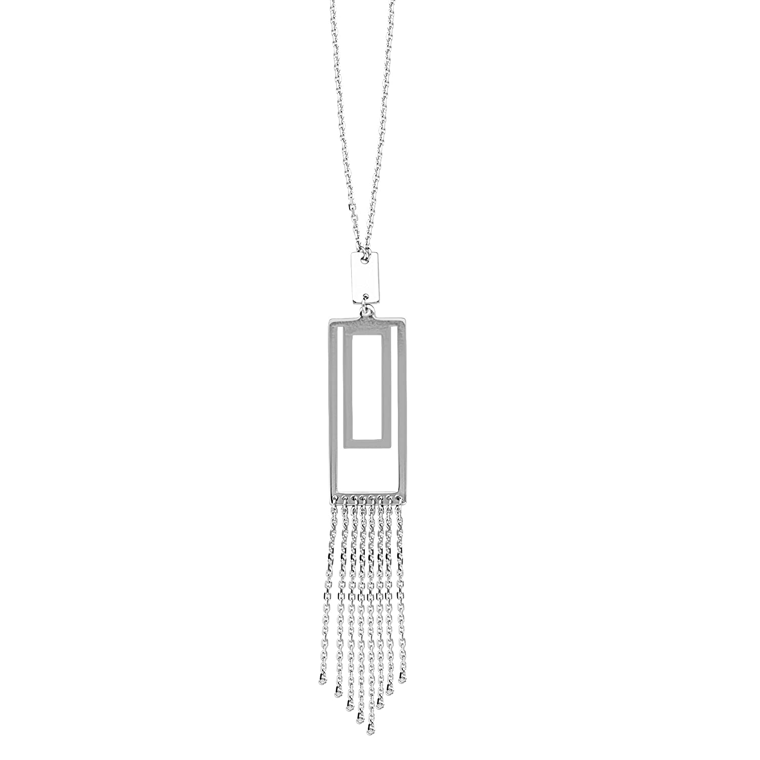 DiamondJewelryNY Silver Pendant Adj.Dbl Rectangle Lariat Necklace