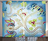 Indian Curtains by Ambesonne, Ethnic Arabian Eastern Decor Ivy Swirls Flowers on Sky Blue Backdrop Artwork Print, Living Room Bedroom Window Drapes 2 Panel Set, 108W X 63L Inches, Multicolor
