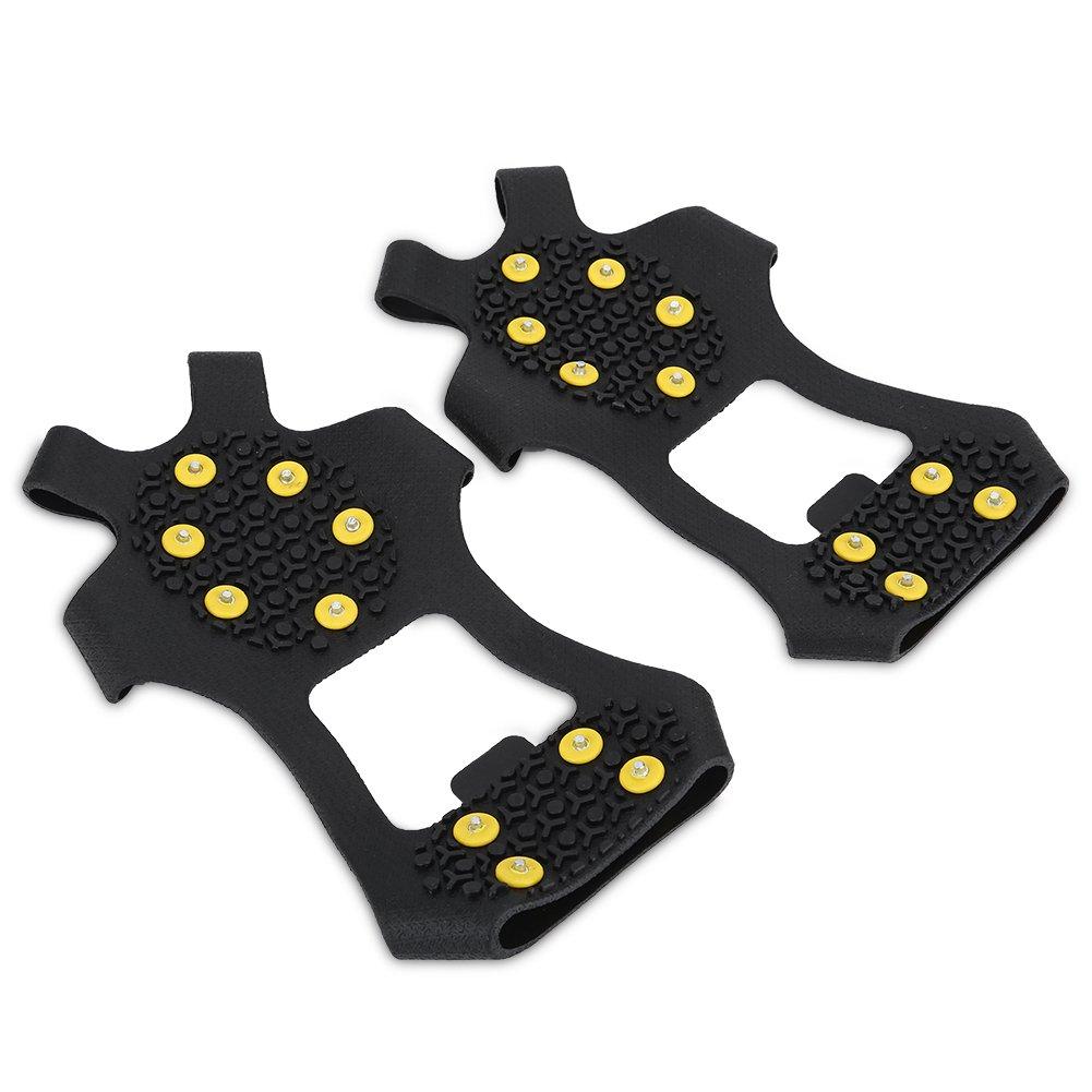 10 Teeth Universal Anti-Slip Crampons Clamps Traction Crampon Thick Crampons Grips Crampons Men Women Walking Jogging Hiking and Mountaineering