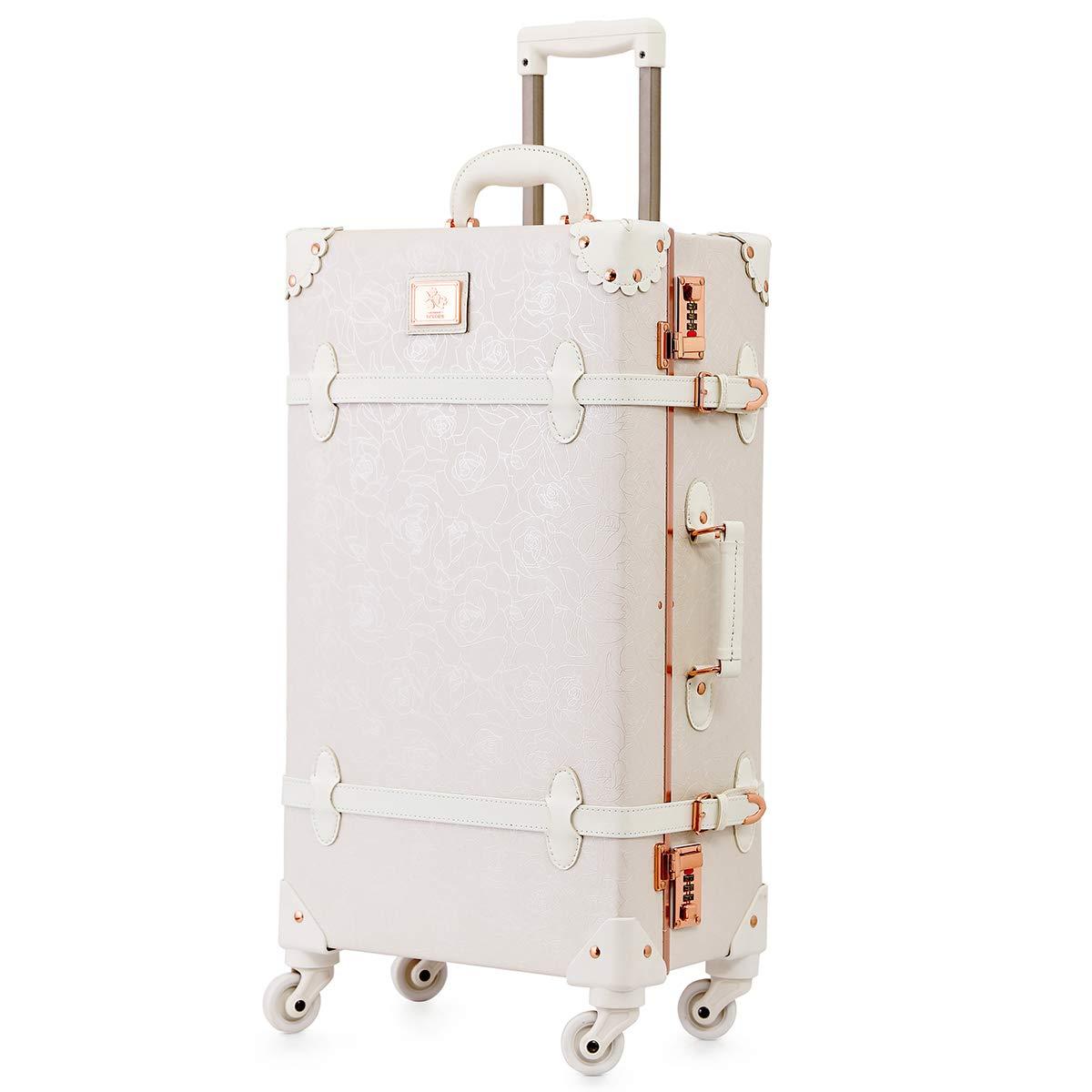 可愛い スーツケース クラシック トランク トランクケース ピンク 機内持込 キャリーケース かわいい 子供 女の子 B07KZLL7R6 バラの白 L(24)型
