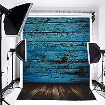 Mohoo 5x7ft Vinyl Photography Background Vintage Blue Wood Floor Photo Backdrop Studio Props