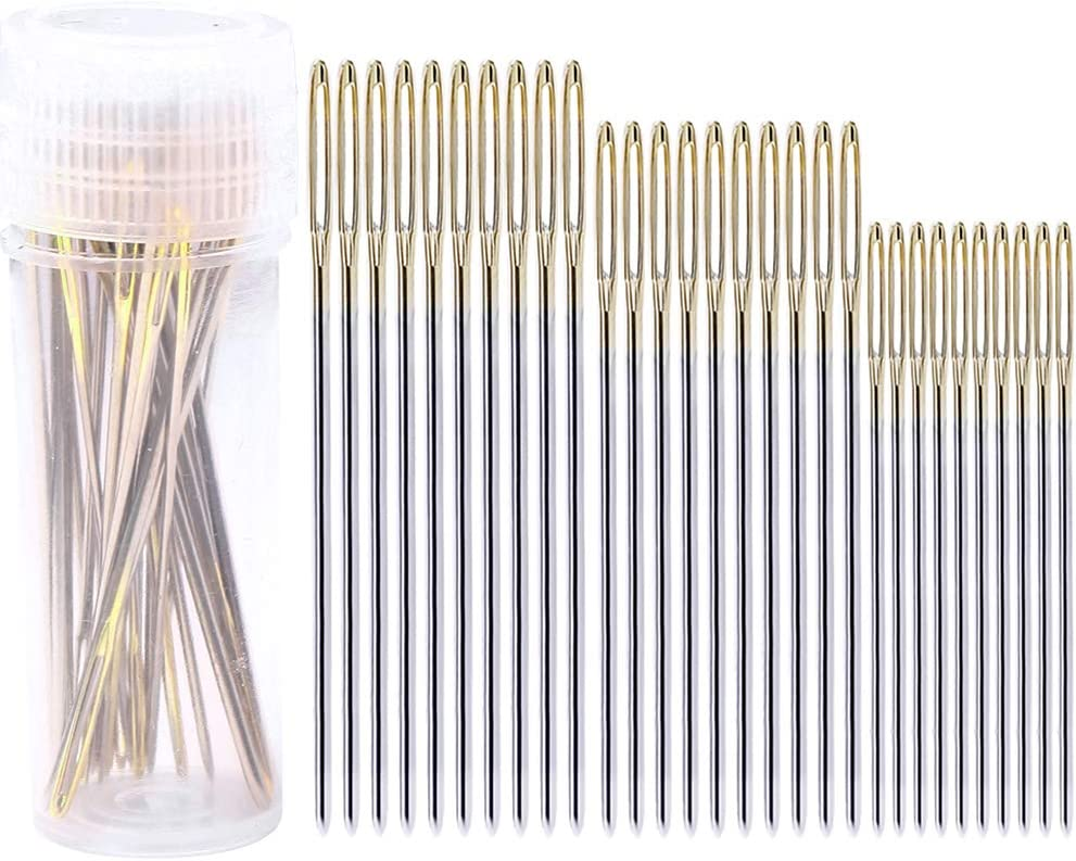 pengxiaomei Large Eye Stitching Needles Hand Sewing Craft Needles Embroidery Needles with Clear Storage Tube 30 Pcs Big Eye Sewing Needles