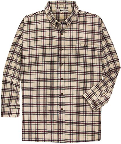 Best Buys Big & Tall Big & Tall Men's Foxfire Long-Sleeve Flannel Shirt (TAN, 4XB)