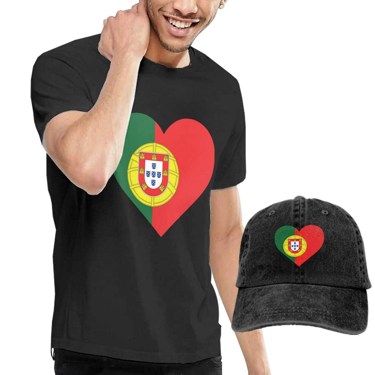 WWTBBJ-B Heart Shaped Portugal Flag Adult Mens Summertime T Shirt and Sports Jean Hat