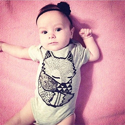 Hotone Baby Boys Girls Rompers Kids Little Fox Figure Short Sleeve Suits Set, Gray, (6-12 Months)