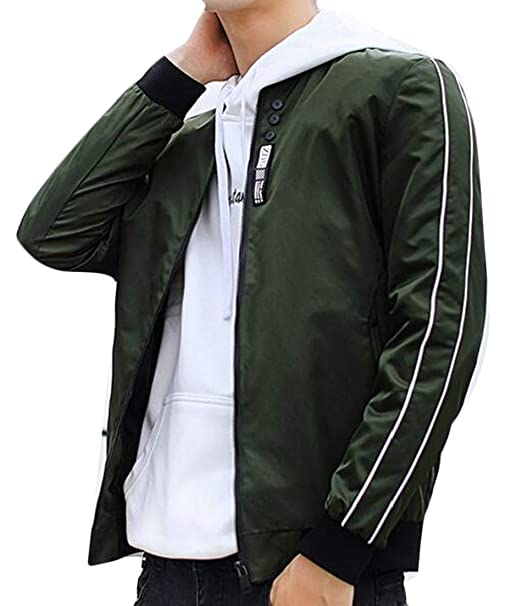 6c1a469a7 Alion Men's Slim Fit Zip up Long Sleeve Side Stripe Bomber Jacket ...