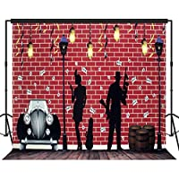 Musykrafties Roaring 20s Street Gangster and Flapper Girl Theme Photography Backdrop Background Party Wall and Floors Photo Booth Props 10x10ft