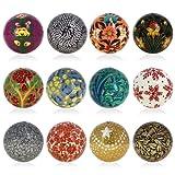 Decor Christmas Ornaments Hanging Handmade Paper Mache Balls 3 Inch Set of 12