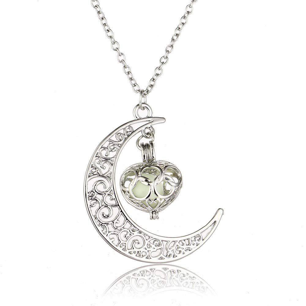Toponly Moon Pendant Necklace Glow Luminous Hollow with Ball Night Great Gift for Women Mom by Toponly (Image #2)