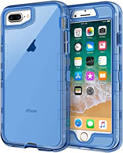 iPhone 8 Plus Case, iPhone 7 Plus Case, Anuck Crystal Clear 3 in 1 Heavy Duty Defender Shockproof Full-Body Protective Case Hard PC Shell & Soft TPU Bumper Cover for iPhone 7 Plus/8 Plus - Clear Blue