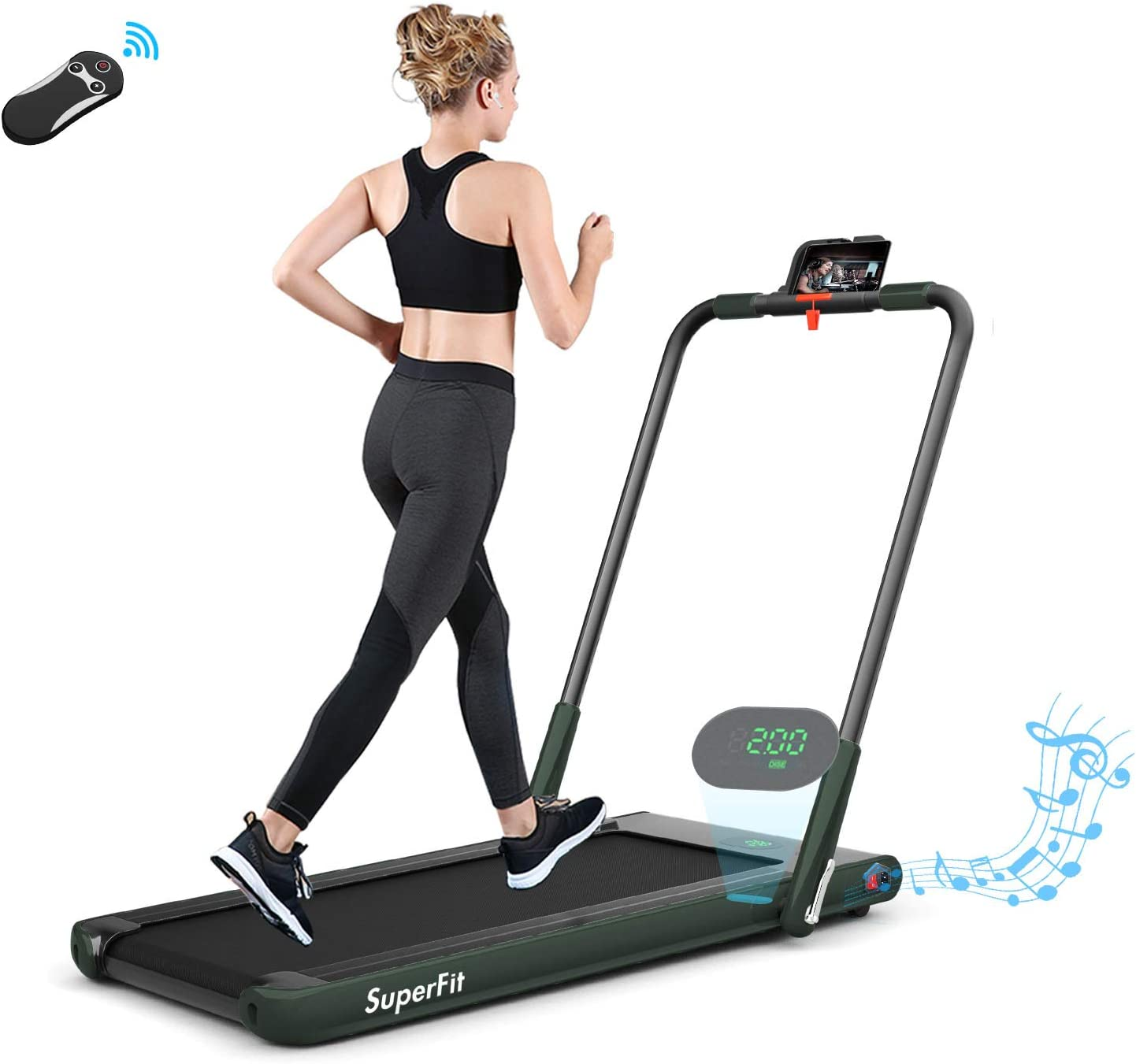 SAFEPLUS Portable Folding Treadmill, 2 in 1 Under Desk Walking Treadmills with Installation-Free Bluetooth Speaker and LED Display,Walking Jogging Machine for Home Office Use