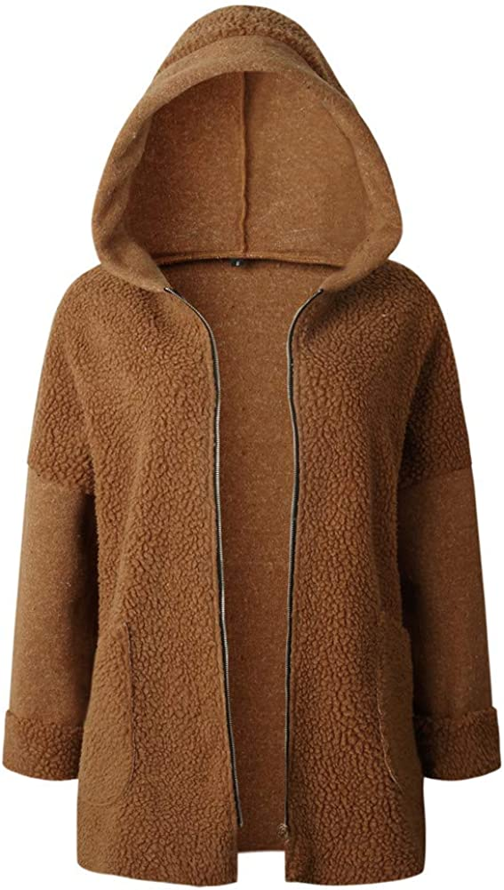 Sorrica Womens Casual Zip up Hooded Fuzzy Fluffy Jacket Outwear Coat with Pocket