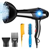 Hair Dryer Professional Ionic 3000W PluieSoleil with 2 Speed and 3 Heat Setting with Diffuser, Nozzle and Combs 5 Attachments for Curly and Straight Hair