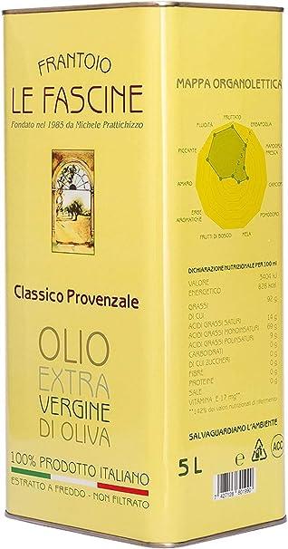 Le fascine olio extravergine di oliva italiano in latta da 5 lt 100 % prodotto da olive provenzale B076HF9CCJ