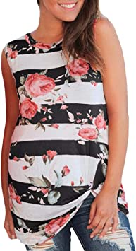 Iusun Womens Maternity Tops Print Plus Size Solid Round Neck T-Shirt Mom Nursing Sleeveless Breastfeeding Pregnants Summer Cloth