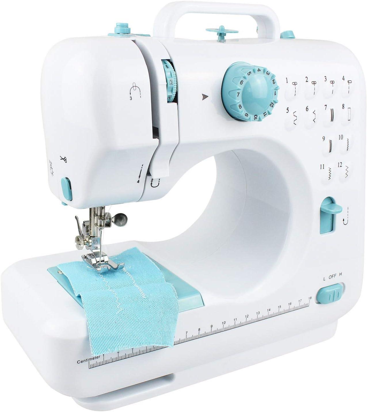 Leogreen - Máquina de Coser 12 Puntadas, Máquina de Coser Portátil, Blanzo/Azul, 12 Patterns, Material: Plástico ABS, Peso: 2,5 kg: Amazon.es: Hogar
