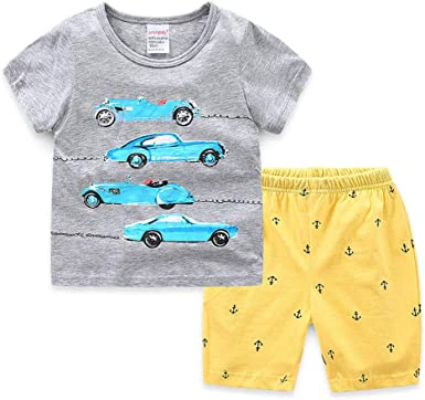 Pijamas Dos Piezas Bebe Niño, Morbuy Conjunto de Pijamas Niña Algodón Camisetas y Pantalones Conjunto de Camisa de Verano Respirable Manga Corta 2-7 Años: Amazon.es: Ropa y accesorios