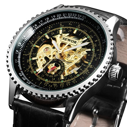 Mens Watch Mechanical Black Dial Faux Leather Analog Skeleton Steampunk Luxury