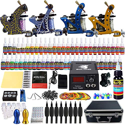 (Solong Tattoo Complete Tattoo Kit 4 Pro Machine Guns 54 Inks Power Supply Foot Pedal Needles Grips Tips Carry Case TK453)