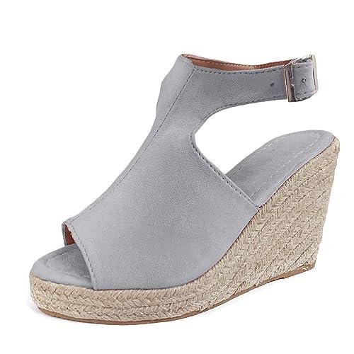 Damen Schuhe Plateau Sandaletten Sandalen Riemchensandalen Keilabsatz Gr 40