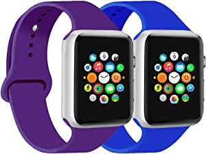 CoJerk Compatible for Apple Watch Band 38mm 40mm 42mm 44mm,Replacement Band for iWatch Series 5/4/3/2/1 (Purple+Royal Blue, 38mm/40mm-sm)