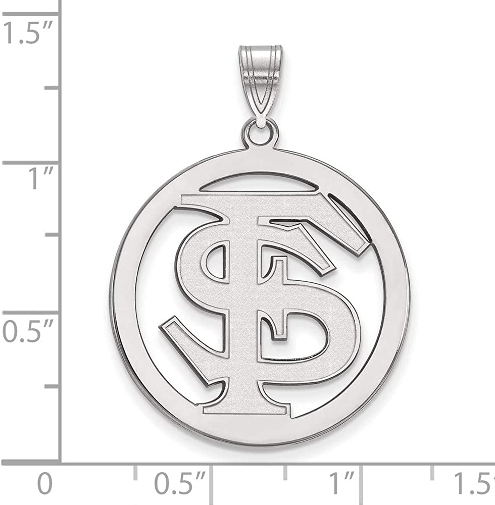 Solid 925 Sterling Silver Official Florida State University XL Extra Large Big Pendant Charm in Circle 33mm x 26mm