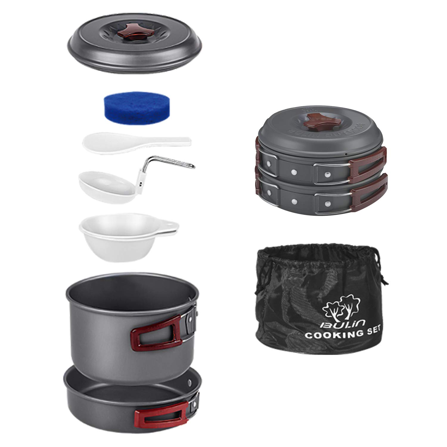 Bulin Camping Cookware Mess Kit Outdoor Backpacking Hiking Gear Cooking Equipment, Lightweight Compact Durable Cook Set (8 PCS) by Bulin