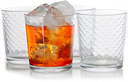 Circleware 40141 Paragon Double Old Fashioned Whiskey, Set of 4 Kitchen  Drinking Glasses Glassware for Water, Juice, Ice Tea, Beer, Wine and Bar ...