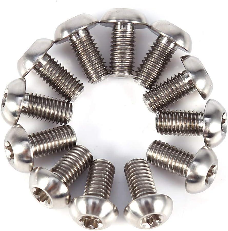 Qii lu Titanium Alloy Bike Screws,12pcs T25 Torx Head Bolts Fastener Color Titanium Alloy Disc Brake Screw Plum Head Screw