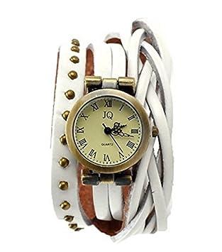 Las mujeres Roma YARBAR número remache cuero relojes Vintage pulsera del abrigo Blanco blanco