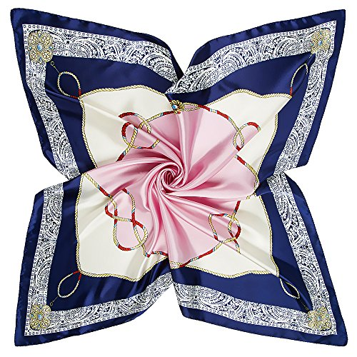 YOUR SMILE Polyester Scarf Women's Fashion Pattern Large Square Satin Headscarf 35''x35'' (605)