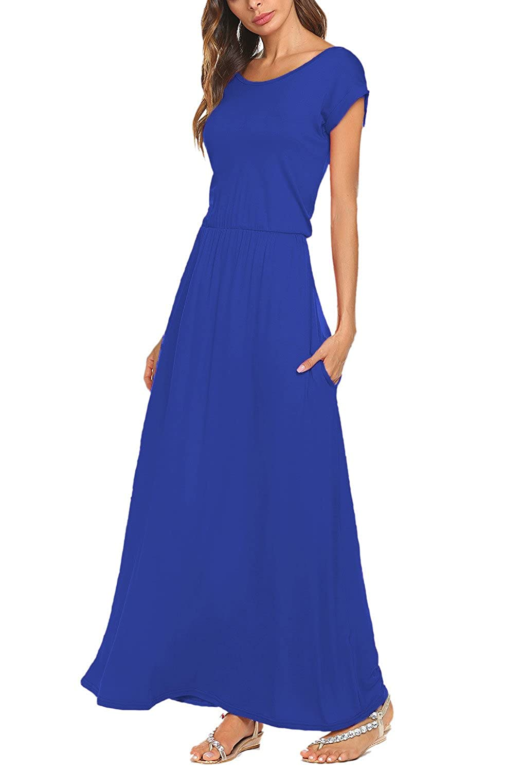 37620cf772 BLUETIME Women's Short Sleeve Maxi Dress with Pockets Plain Loose Pleated  Swing Casual Long Dresses at Amazon Women's Clothing store:
