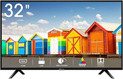 Hisense H32BE5000 - TV LED 32 HD, 2 HDMI, 1 USB, Salida Óptica, Audio DD+, Negro [Clase de eficiencia energética A]: Amazon.es: Electrónica