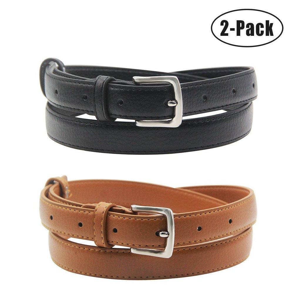 Maikun Womens Skinny Leather Belt Solid Color Pin Buckle Simple Waist Belts