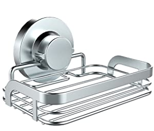 HOME SO Soap Dish with Suction Cup Holder - Bathroom Shower Kitchen Basket Caddy Tray Hanger for Soap Bars, Sponges, Shampoo - Stainless Steel Rust-Free, Chrome