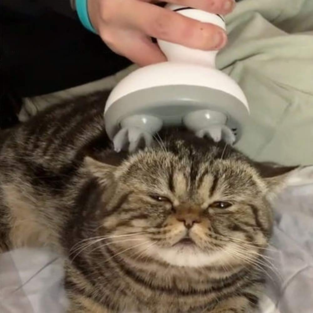 PinShang Multifunction Cat Head Massager Electric Paw Shape for Pet