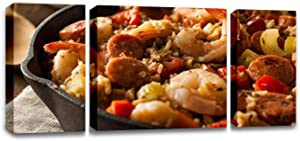 CCArtist Spicy Homemade Cajun Jambalaya Seafood Dishes Stock Pictures, Wall Decor Print on Canvas Modern Artwork Living Room Bedroom Painting Art Wall