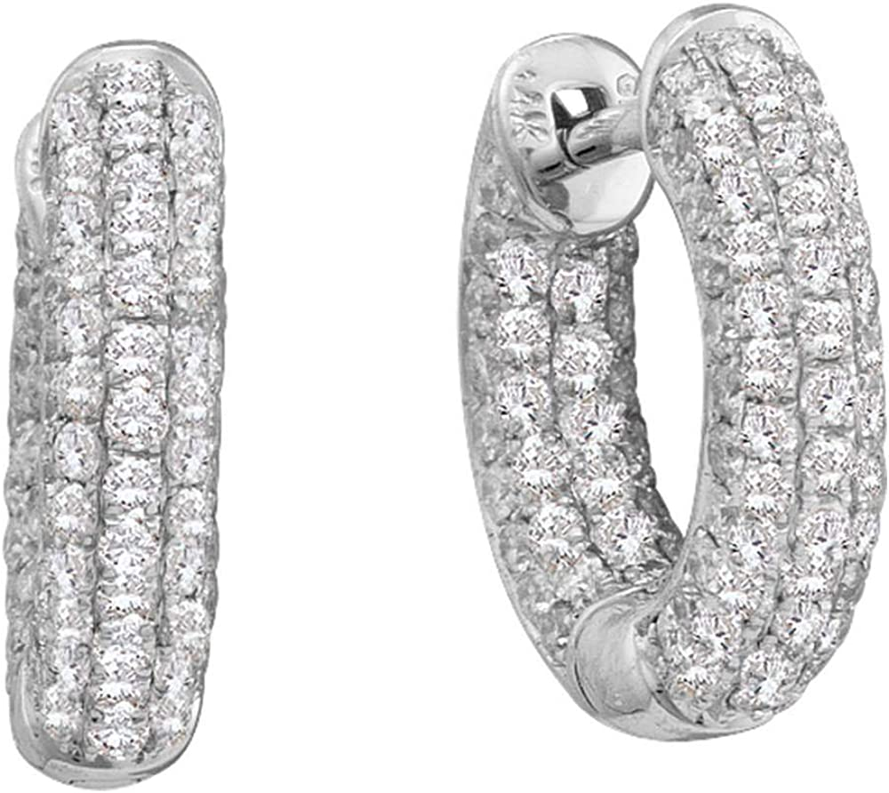 Diamond Dainty Huggie Hoop Earrings 3/4ct 14k White Gold